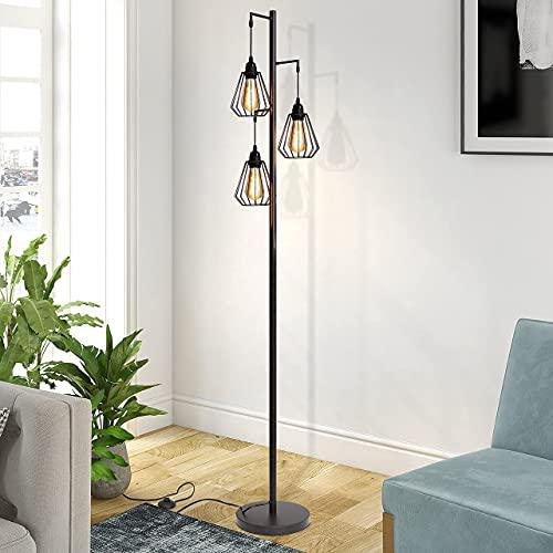 ZMH Stehlampe Wohnzimmer Vintage 3-flammige Stehleuchte im Industrial Design, Retro...