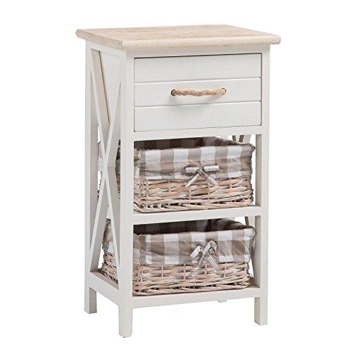 CARO-Möbel Nachttisch Nachtschrank Nachtkommode Perugia in weiß, Shabby Chic...