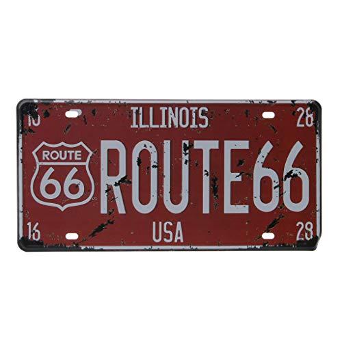 Ogquaton USA Route 66 Auto Vintage Nummernschild Metallwand Handwerk Retro Garage...