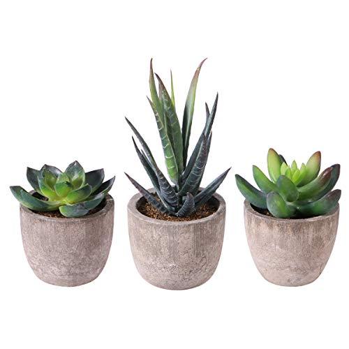 OUNONA 3 Stücke Künstliche Sukkulenten Pflanzen mit Töpfen Tischdeko Haus Balkon...