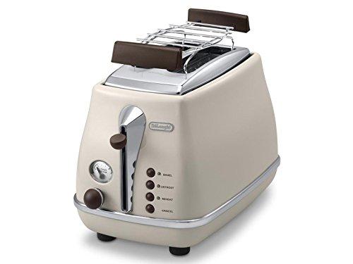 De'Longhi Toaster Icona Vintage CTOV2103.BG - 2-Schlitz-Toaster mit Brötchenaufsatz,...