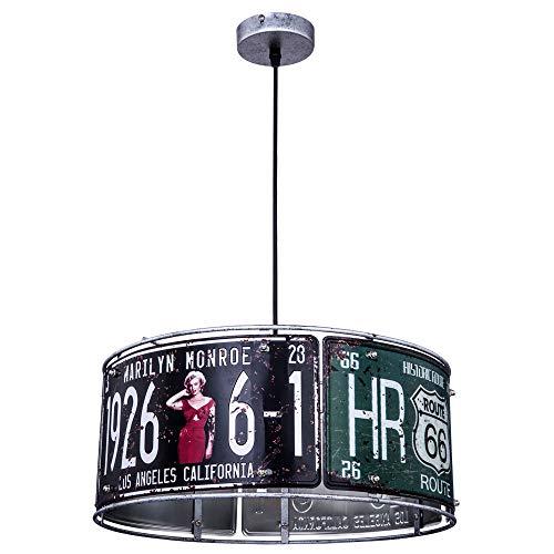 Retro Hänge Lampe USA Nummernschild Route 66 Monroe Dekor Decken Pendel Leuchte...