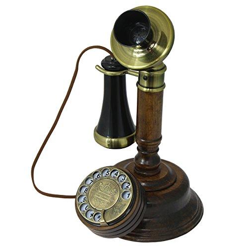 Opis 1921 Cable - Modell C - Retro Telefon aus Holz, schwarzem und mit Messing...
