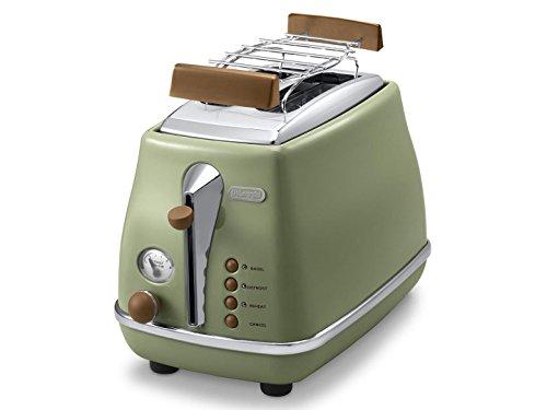 De'Longhi Toaster Icona Vintage CTOV2103.GR - 2-Schlitz-Toaster mit Brötchenaufsatz,...
