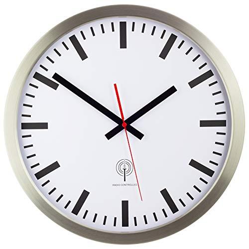 Eurotime Funkwanduhr, 40 cm, Edelstahlgehäuse Silber, Echtglas, Bahnhofszifferblatt,...