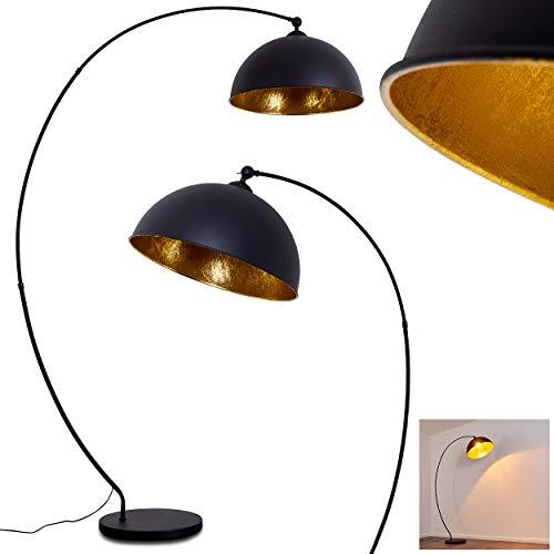 Stehlampe Miranda, Vintage Stehleuchte aus Metall in Schwarz/Gold, 1 x E27-Fassung,...