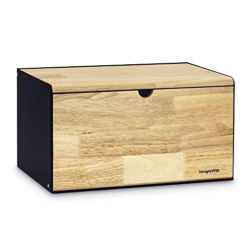 Konighoffer Brotbox Brotkasten Brotkiste Holz Edelstahl Brotkorb Vitrum 35,5 x 21,5 x...