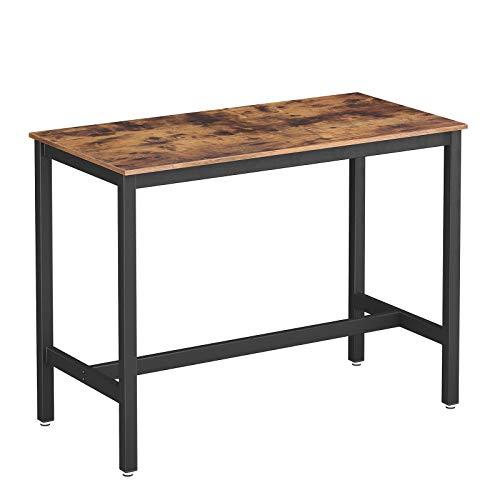 VASAGLE Bartisch Metall, Computertisch, Stabiler Stehtisch Tisch 120 x 60 x 90 cm...
