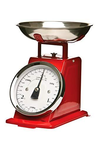 Premier Housewares Küchenwaage im Retrolook mit Edelstahlschale, rot
