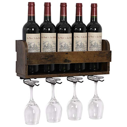 OROPY Wand Weinregal mit Glashalter für 5 Weinflaschen und 4 Stielweingläser...
