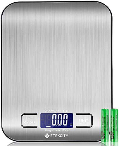 ETEKCITY Küchenwaage Digitalwaage elektronische Waage 5KG mit großem LCD-Display,...