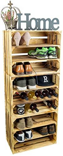 3 x Schuhschrank Schuhregal aus Holzkisten Schuhablage für 18 Paar Schuhe als...