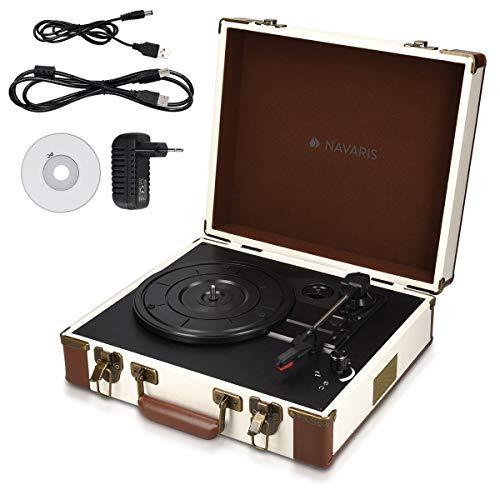 Navaris Retro Koffer Plattenspieler mit Lautsprecher - USB Port zum Digitalisieren -...