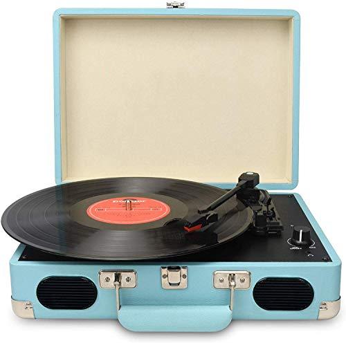DIGITNOW! Tragbarer Gürtel-Drive 3-Gang-Retro-Style-Plattenspieler Vinyl-Schwarzer...