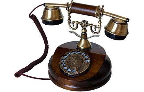 Opis 1921 Cable - Modell A - Retro Telefon aus Holz und Metall Telefon mit echter,...