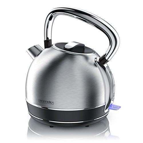 Arendo - Retro Edelstahl Wasserkocher Teekessel im Vintage Style - max. 2200 Watt -...