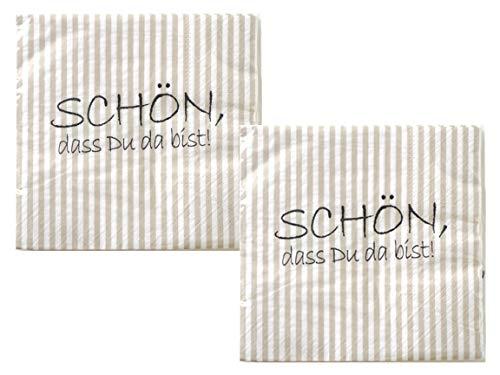 Bada Bing 2er Set Mit 40 Stück Servietten Spruch Weiß Edel Papierservietten'Schön,...