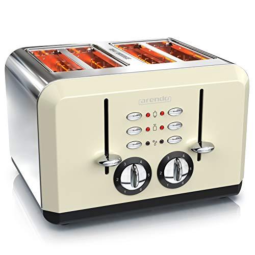 Arendo - Automatik Toaster 4 Scheiben - Edelstahlgehäuse - bis zu vier Sandwich und...