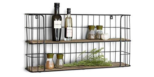 LIFA LIVING Vintage Wandregal aus Holz und Metall Schwarz mit 2...
