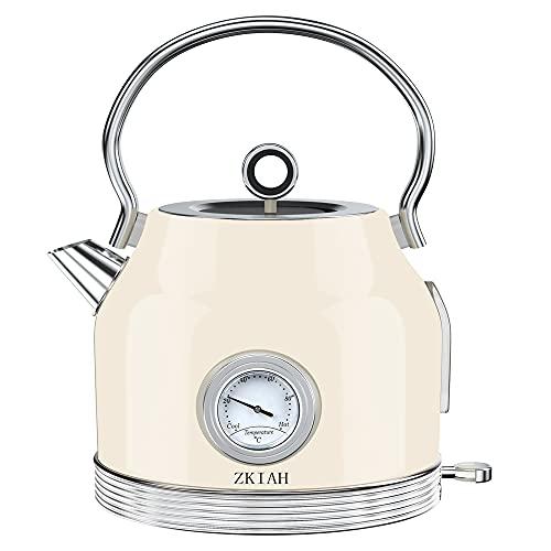 ZKIAH Wasserkocher mit Thermometer 1,7L 220V 2200W, Retro Edelstahl Wasser Teekocher...
