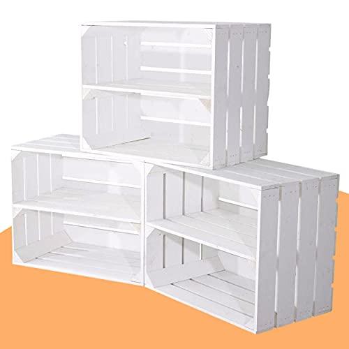 3 weiße Obstkisten mit Mittelbrett für Schuhregal und Bücherregal - Holzkiste...