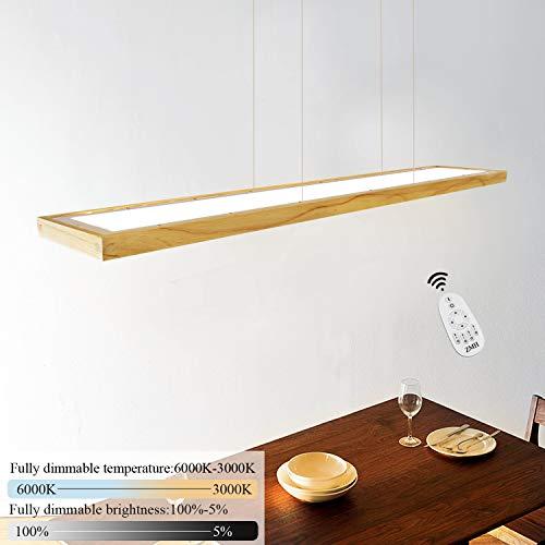 ZMH LED Hängeleuchte esstisch Pendelleuchte Holz rustikal dimmbar 38W mit den...