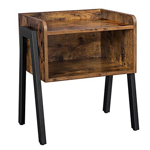 VASAGLE Nachttisch, Nachtkommode, Beistelltisch im Industrie-Design, stapelbarer...
