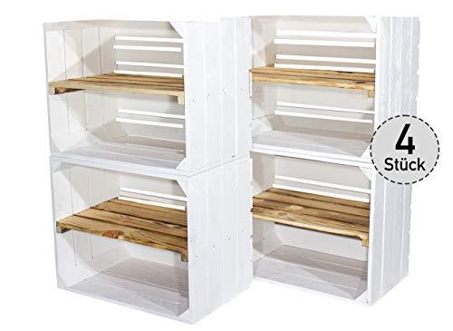 4er Set weiße Holzkiste mit geflammtem Mittelbrett -längst- Neue Obstkiste in...