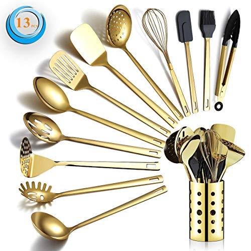 Berglander Gold Kochutensilien Set, Edelstahl 13 Stück Küchenutensilien Set mit...