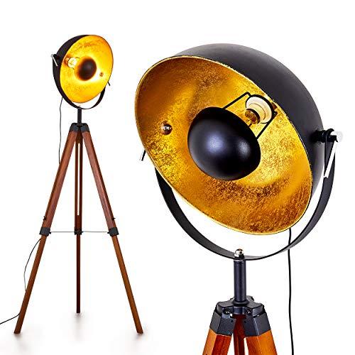 Stehlampe Jupiter, Vintage Stehleuchte in Schwarz/Gold aus Metall m. Gestell aus...