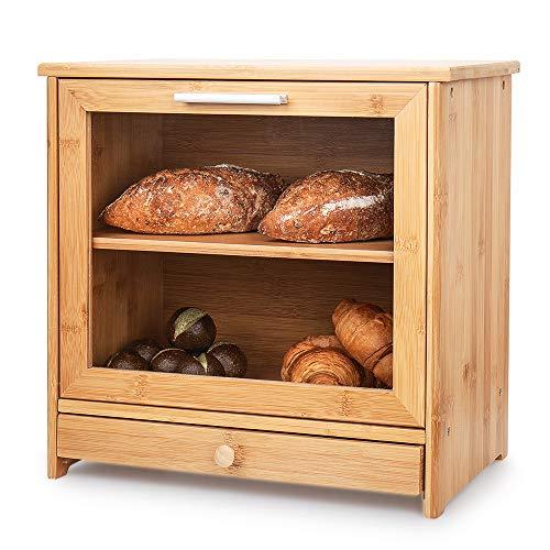 Brotkästen aus Bambus, 2-Lagiger Brot Box Aufbewahrungscontainer mit Frontdeckel und...