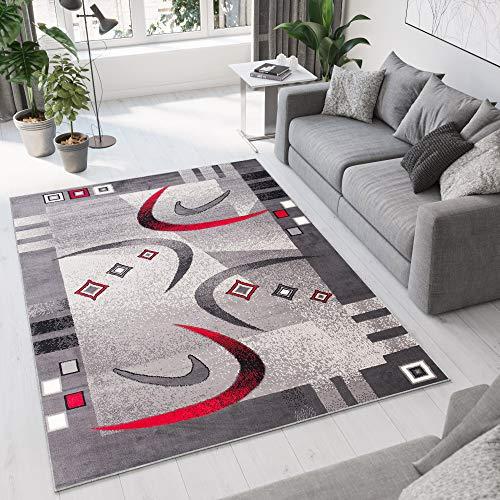 Tapiso Dream Teppich Wohnzimmer Kurzflor Modern Grau Creme Rot Bordüre Meliert...