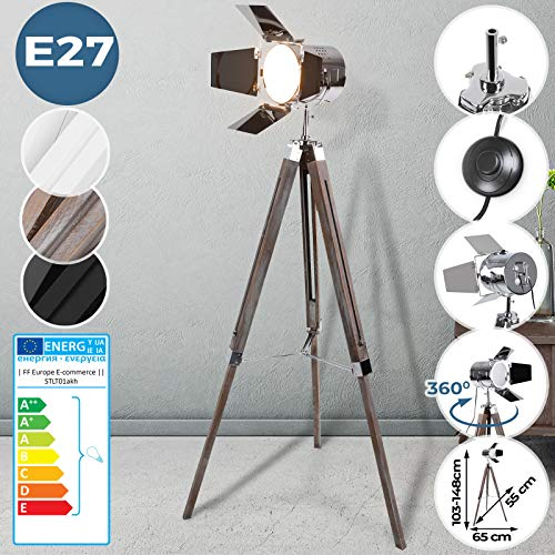 Stehlampe mit Stativ aus Holz - EEK: A++ bis E, LED, E27, Höhenverstellbar max. 148...