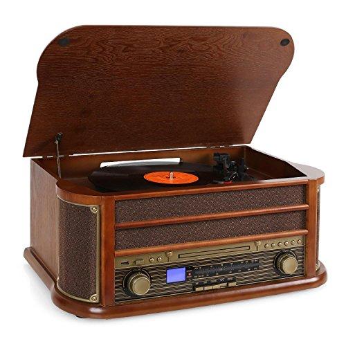 auna Belle Epoque 1908 - Retroanlage, Plattenspieler, Stereoanlage, Digitalradio,...