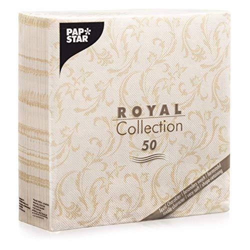 Papstar, 50 Servietten 'ROYAL Collection' 1/4-Falz 40 cm x 40 cm champagner...