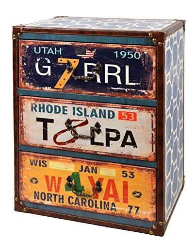 ts-ideen Kommode Regal Nachttisch Schrank Utah Vintage Antik Kunstleder Design Shabby...