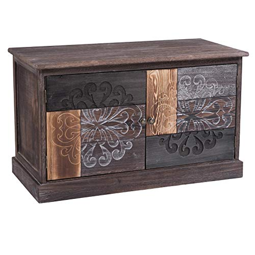 CARO-Möbel Schuhbank MARA Schuhschrank Schuhkommode in braun/grau lackiert