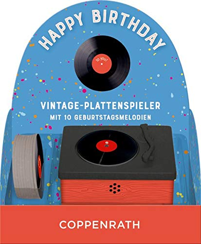 Vintage-Plattenspieler - Happy Birthday: Vintage-Plattenspieler mit 10...
