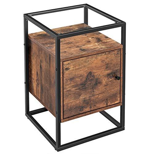 VASAGLE Nachttisch für Boxspringbetten, Beistelltisch, Glastisch mit...