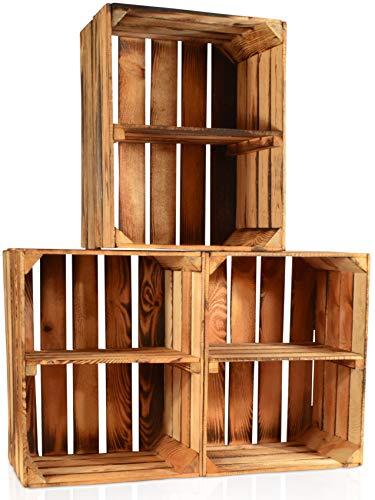 CHICCIE 3 Set Geflammte Obstkisten - Kurze Ablage Holzkisten Weinkisten Holz Kisten...