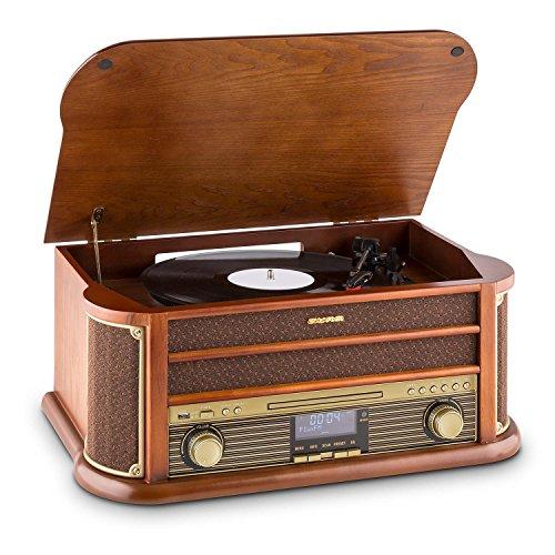 auna Belle Epoque 1908, Retroanlage, Plattenspieler, Stereoanlage, Digitalradio,...