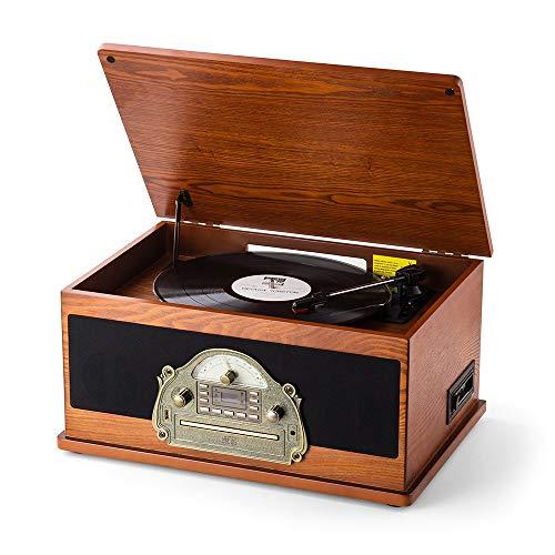 SHUMAN 7-in-1 Einzigartiger Brauner Vintage-Plattenspieler, Plattenspieler, CD /...