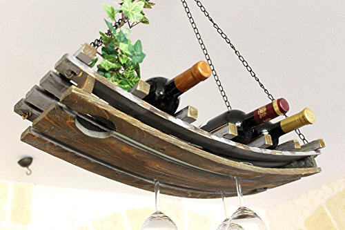 DanDiBo Weinregal 5089 Deckenregal aus Holz 65 cm Hängeregal Flaschenhalter...