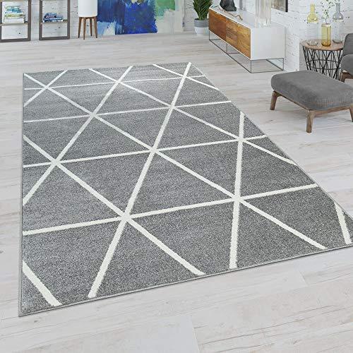Paco Home Wohnzimmer Teppich, Moderne Pastell Farben, Skandinavischer Stil, Rauten...
