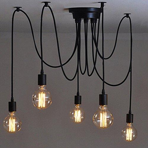 E27 Creative Edison Kronleuchter Antique DIY Kronleuchter 5 Köpfe Lampen Vintage...