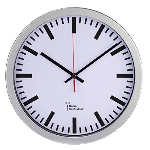Hama groß Funk Bahnhof Wanduhr, DCF-Funkuhr, automatische Zeiteinstellung, 30 cm...