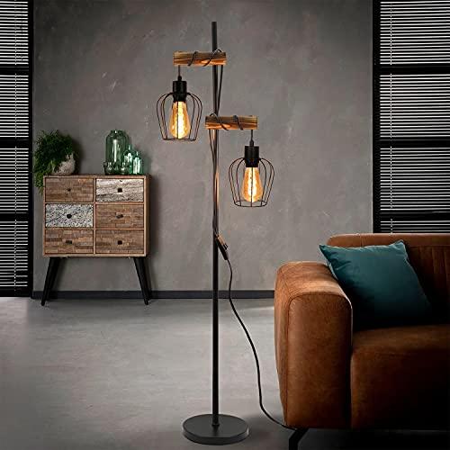 ZMH Vintage Stehlampe Wohnzimmer 2 flammige Holz Retro Standleuchte im Industrial...