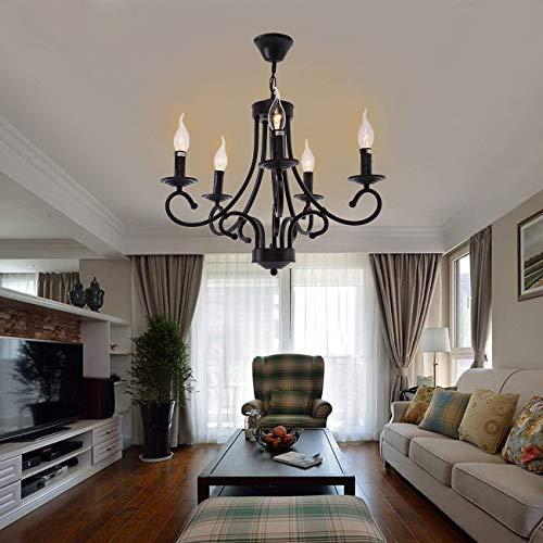Iglobalbuy Vintage Eisen Kronleuchter 5 Kerze Stil Decke Pendelleuchte für...