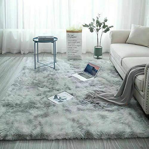 Catalpa Blume Teppich in Silbergrau Hochflor Shaggy Teppiche Langflor Wohnzimmer...