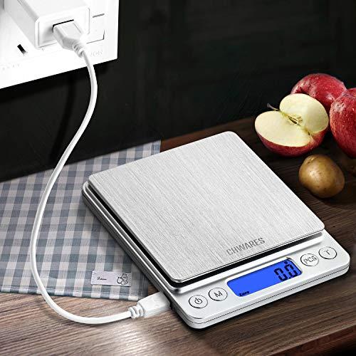 CHwares Digital Küchenwaage mit USB Aufladen,Digitalwaage 0.1g/3kg,Electronische...